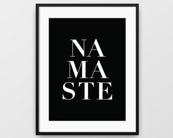 Namaste Print, Namaste Yoga Art, Printable Yoga Art, Namaste Wall Art, Namaste Black Art, Namaste Art, Printable Namaste Art, Yoga Wall Art