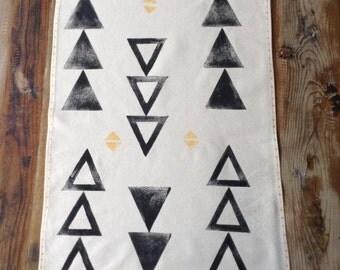 Tea Towel - Black Triangles Tea Towel - Block printed tea towel - Beige cotton tea towel