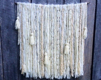 Large Winter White Yarn Wall Hang