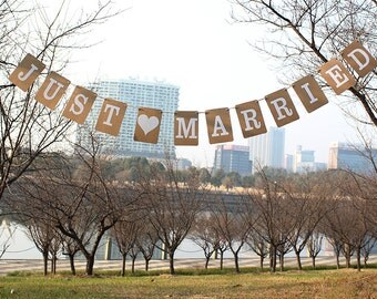 Just Married Banner - Wedding Banner - Garland