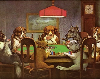 Sport Poker Friend in Need Dogs Playing Poker Cards Bull Dog Fine Art Poster Repro FREE SHIPPING