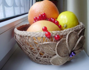 Jute Basket, Fruit & Vegetables Storage, Rustic Décor, Natural Basket, Storage Basket