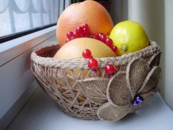 Jute Basket, Fruit & Vegetables Storage, Rustic Décor, Natural Basket, Storage Basket