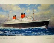 Lithograph Queen Elizabeth Cunard Line, C.E Turner, 50's