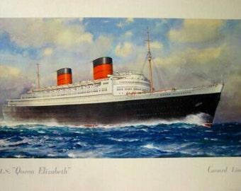 Original Lithograph Queen Elizabeth Cunard Line, C.E Turner, 50's