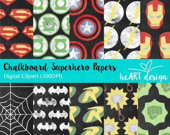 Chalkboard Superhero Digital Paper 2 / Digital Paper for Commercial and Personal Use / INSTANT DOWNLOAD