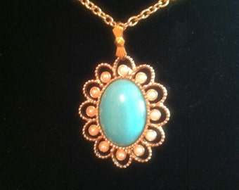 Classic Turquoise and Pearl Gold Brooch Pendant