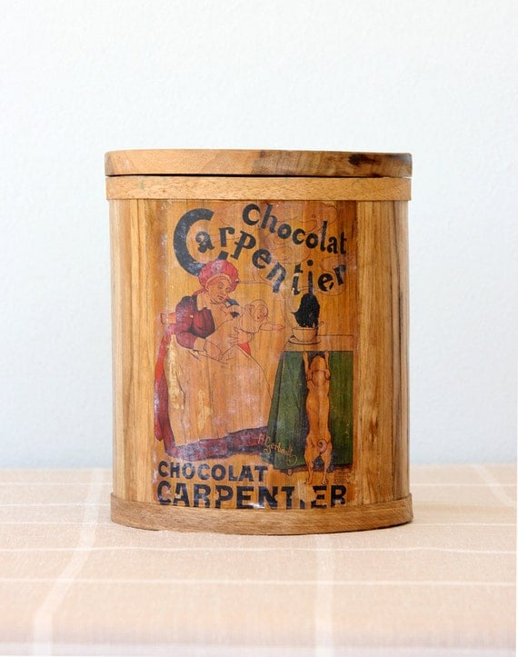 Vintage wooden cookie jar Handmade French biscuit box Chocolat Carpentier box Collectible bucket Pail container Kitchen ware Wood container