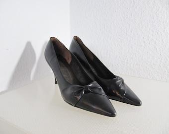 50s unworn - leather pumps stilettos - rockabilly era