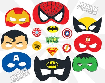 Superhero Masks - Printable- Cutout - Spiderman, Batman, SuperMan, Iron Man, Hulk, Wolverine, Captian America