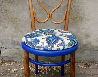 My Blue suede chair - one - upcycled vintage chair