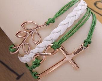 Green, white, cross bracelet