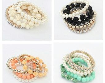 5 piece set rose bracelet