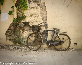 Back Alley Beijing FREE SHIPPING Bicycle Vintage Antique Rustic Shabby Chic Home Decor Wall Art Fine Art Photograph Basket Brick Wall