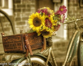 Flowers Market FREE SHIPPING Country Bicycle Vintage Antique Rustic Shabby Chic Home Decor Wall Art Fine Art Photograph Flowers Basket