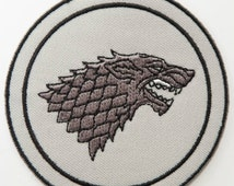 Game of Thrones Patch 3 Inch House Stark Emblem Crest Embroidered Iron on Badge Dire Wolf Insignia Costume Applique Motif Jon Snow