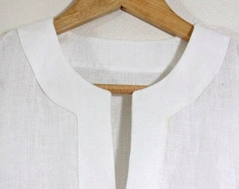 Made-to-measure - 100% Linen Long Sleeve Tunic for Messianic Men w/ Corners for Tzitzit Tassels - Caleb Tunic