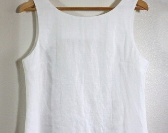 100% White Linen Sleeveless Tunic for Messianic Israelite Women w/ Corners for Tzitzit Tassels - Deborah Tunic