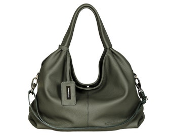 Leather handbag handmade grey charcoal grey HOFFMANN