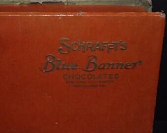 Schrafft's Blue Banner Chocolates Artist's Model Candy Box Boston Art Deco Look