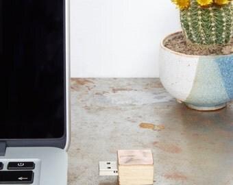 Handmade Square Copper And Oak Usb Flash Drives