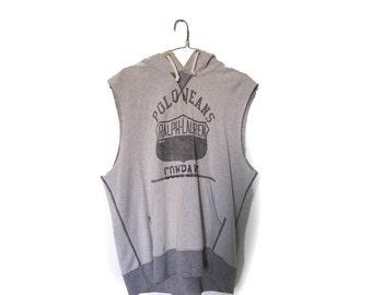 Men's Vintage Polo Ralph Lauren Short Sleeve Hooded Vest . Graphic Grey Marle Logo . Cut Off Sleeves . Sleeveless Unisex Vest . Retro Jumper