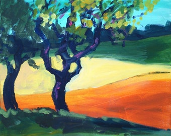 Original landscape acrylic painting on canvas Plum - tree in summer