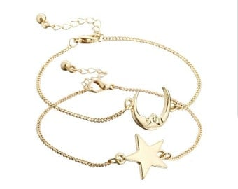 Friendship/ Couple Bracelet Moon and Star Charms Two Pieces Dainty and Simple