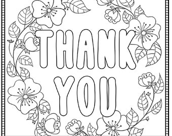 Thank You Printable Coloring Page For Adults PDF JPG Instant Download Sentiment