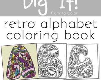 70s retro alphabet coloring pdf ebook 26 coloring pages instant download coloring book - Create Your Own Coloring Book