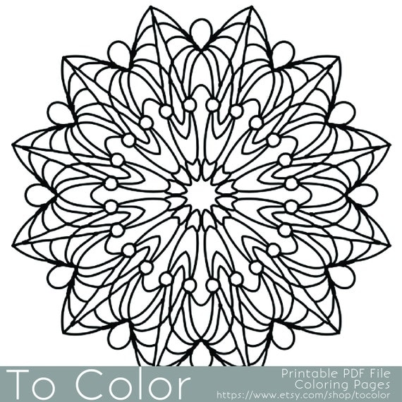 Coloring Book Etsy : Items similar to simple printable coloring pages for adults gel