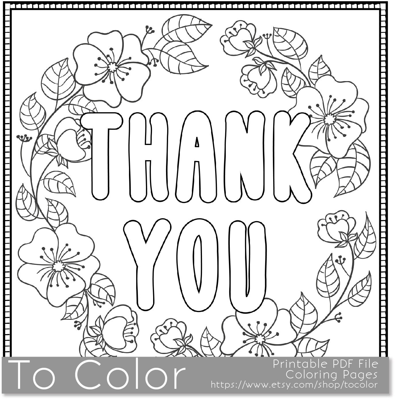 Printable Coloring Thank You Cards : Thank You Printable Coloring Page for Adults PDF / JPG