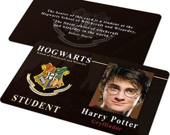 Custom ID Card Badge: Harry Potter Hogwarts Student or Teacher, Cosplay Costume Gift, Uniform, Gryffindor, Hufflepuff, Ravenclaw, Slytherin