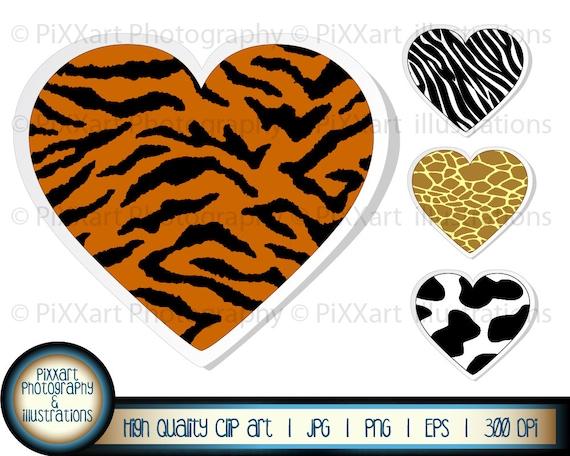 Animal print heart clipart tiger cow giraffe by ...