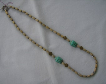 Turquoise Buddhas and Hearts Necklace