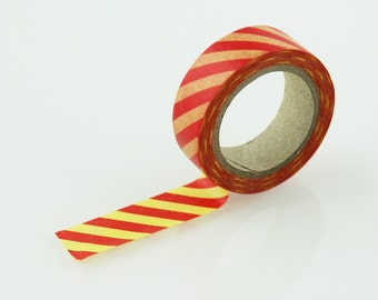 Yellow & Red Diagonal Stripe Washi Tape // 15mm // Paper Tape // BBBsupplies {CR-W-S028}