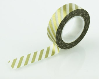 Gold & White Diagonal Stripe Washi Tape // 15mm // Paper Tape // BBBsupplies {CR-W-S021}
