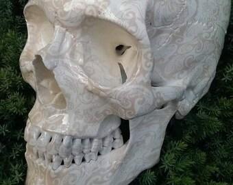SKULL lifesize White lace design skull ornament rockabilly tiki hotrod metal biker pinup