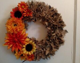 Straw flower Burlap Wreath
