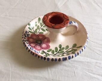 Sweet Vintage Hand Held Glazed Terra Cotta Candle Holder