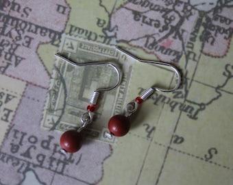 Handmade genuine red jade earrings