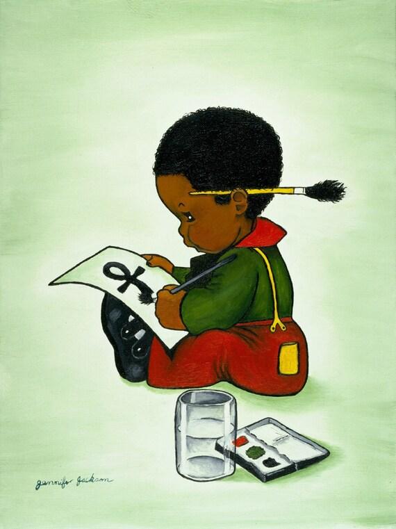 african american art print for children room boy girl painting