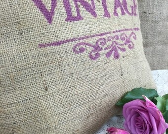 French Farmhouse Style Rustic Burlap Cushion // Hessian Jute Cushion // Hand Stenciled Cushion // Hand Printed Fabric Cushion //