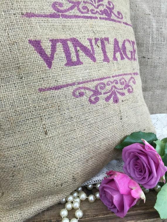 French Farmhouse Style Rustic Burlap Cushion // Hessian Jute Cushion // Hand Stenciled Cushion // Hand Printed Fabric Cushion //