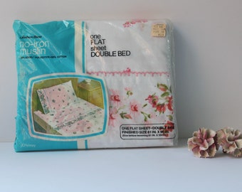 Vintage New Old Stock Vintage Floral Flat Sheet Double Bed