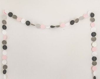 Felt & glitter circle garland in pale pink, white, grey, and silver.  Party garland.  Party banner.  Birthday garland.  Nursery garland.