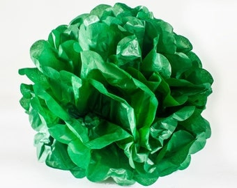 """CLEARANCE - Green 12"""" tissue paper Pom Pom.  Paper decorations.  Party decor.  Tissue poms.  Hanging party decoration.  Hanging paper decor."""