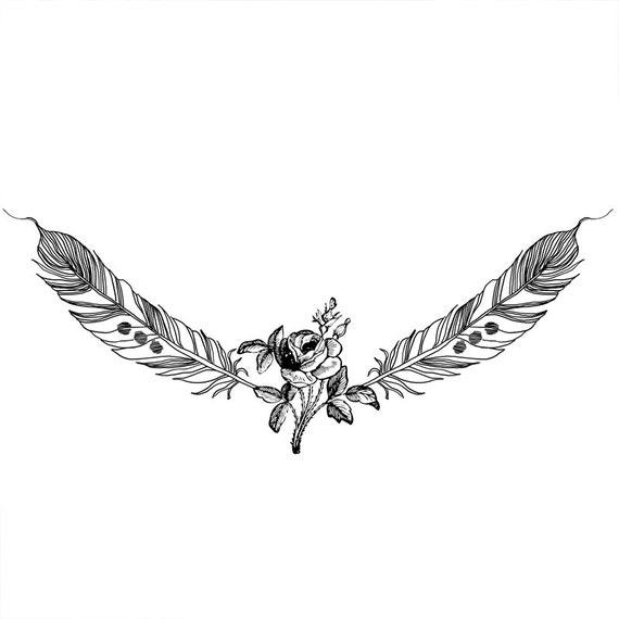 Deux plumes et rose motif tatouage temporaire par arrowtattoo - Tatouage a deux ...