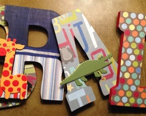 Letters for nursery, Safari letters, Dinosaur letters, Boys room letters, Custom wood letters, Hanging letters, Letters for