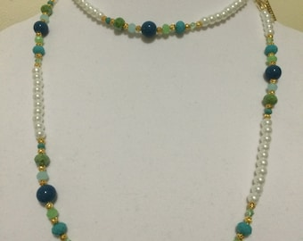 Blue, Green long Necklace